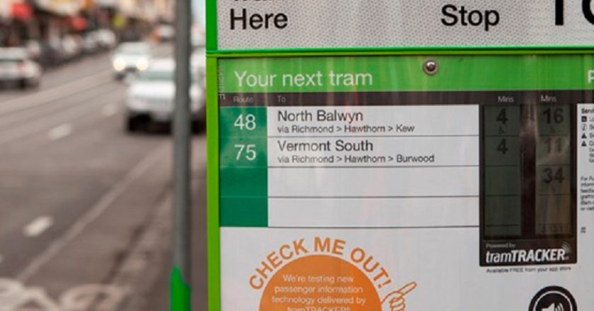 PTV's new tramTRACKER system on the Yarra Trams network. Photo: Yarra Trams