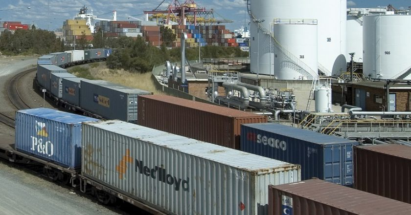 Container rail into Port Botany. Photo: Sydney Ports
