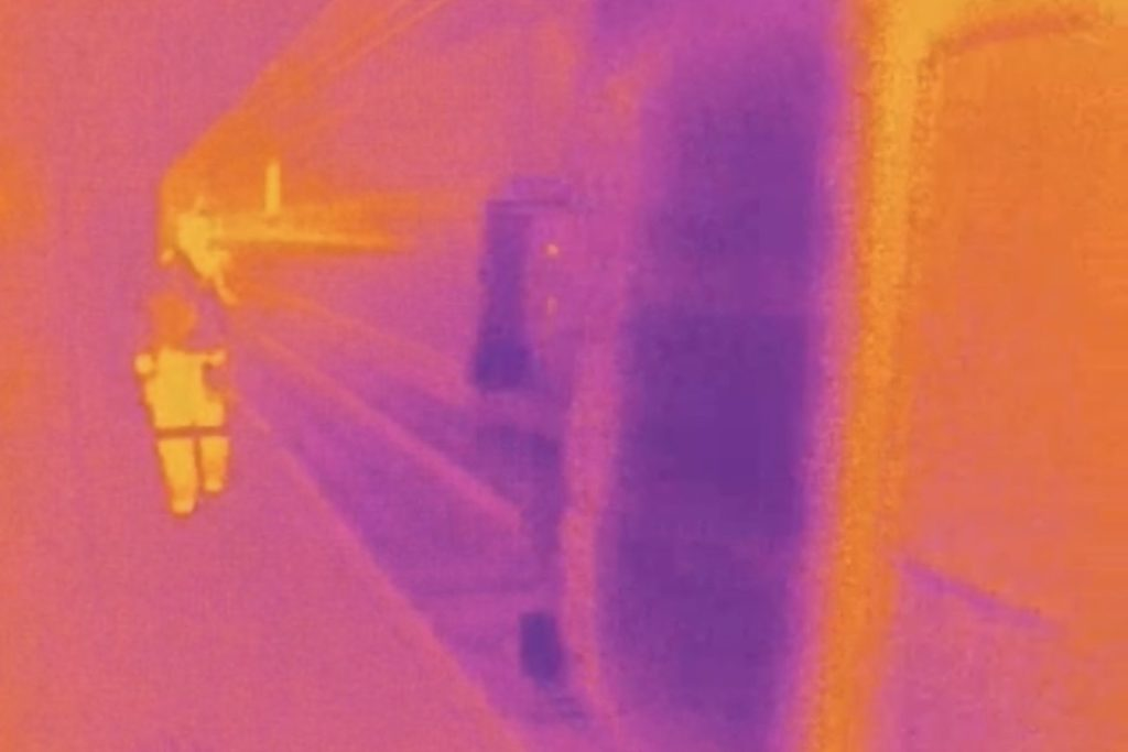 Trespassers detected by thermal imaging.